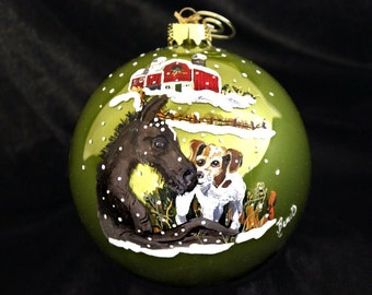 HAND-PAINTED ORNAMENT - Foal and Puppy Item 641
