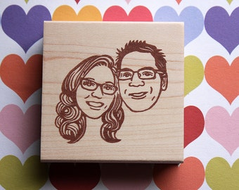 Portrait Stamp/ Face stamp/ Couple portrait stamp/ Wedding Invitation stamp/ Christmas card/ FREE letterings on rubber stamps