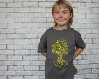 Tree Tshirt, Youth, Screenprinted By Hand, Cotton Crewneck, Toddler, T Shirt, Graphic Tee, Children, Kids, Gift