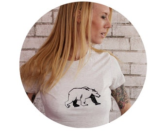 Bear Screen-printed T-shirt in Oatmeal Cream, Off- White, Black Bear, Brown Bear, Woodland, Wild Animal, Womens Crewneck T Shirt Graphic Tee