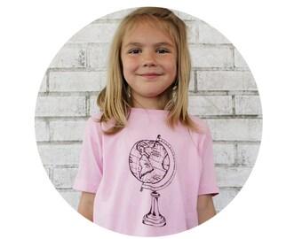 READY to SHIP 4T Youth Globe Tshirt, World Travel, Toddler Clothing, Antique Style World Globe World Map Pastel Light Pink Screenprint Shirt