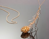 Mini PineCone Necklace 24K Gold, nature jewelry, pine cone gold small with needles, forest jewelry