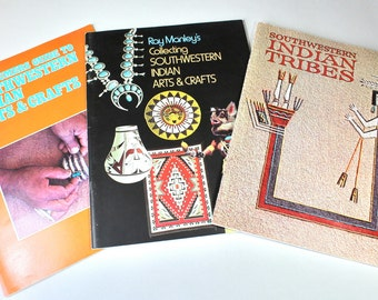 3 Vintage Illustrated Books Southwestern Indian Art and Crafts Indian Tribes Ray Manley