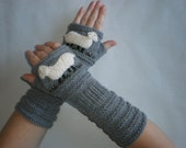 Hand-knitted medium grey wrist warmers with hand needlecrafted sheep