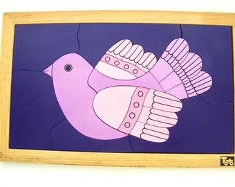 vintage wooden block puzzle-bird