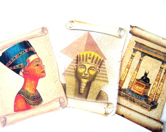 Egyptian Scroll Tags -  Set of 8 -  Nefertiti  Tags - Pharoah -  Anubis - Ancient Egyptian - Scroll Shaped Tag - Thank Yous - Travel  Tags