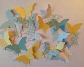 Large  Paper Butterflies  50 pc    Yellows Mint Green   Polka Dot   Bridal Shower   Baby Shower