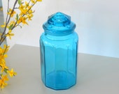 Vintage L E Smith Large Panel Blue Glass Canister