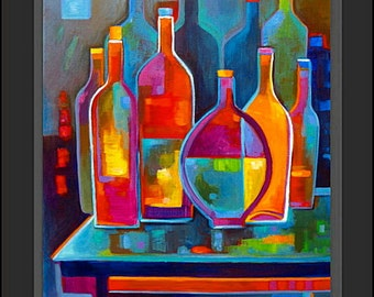 Cubist Abstract Painting Original Cubism Wine Bottles Acrylic on canvas Marlina Vera Fine Art Gallery Modern Artwork sale Modernism peinture