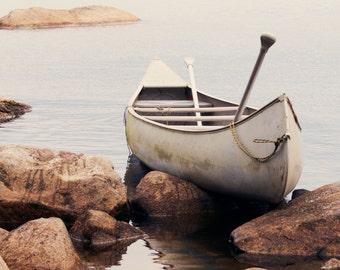 Canoe photograph, late summer canoe ride, rocky Maine landscape, Upper Richardson Lake, Summertime cabin wall art, brown, white