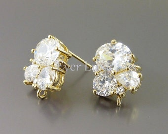 2 sparkling CZ cubic zirconia cluster crystal earrings, wedding / bridal earrings jewelry supplies findings 1452-BG (gold, 2 pcs)
