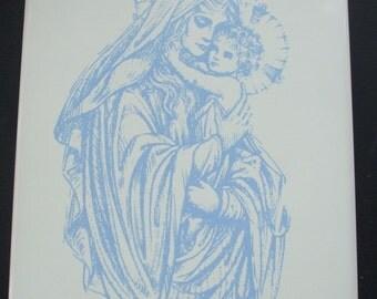 Madonna and Child Ceramic Tile Trivet Christian Display