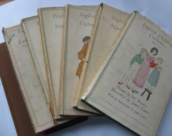 Seven volume set, English Costumes by Iris Brooke, 1935-1947 editions, good condition, Vintage