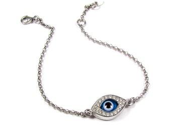 Evil Eye Bracelet Reversible CZ- Sterling Silver, Celebrity Inspired, Blue Evil Eye Bracelet