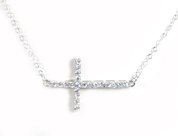 CZ Sideways Cross Necklace- Simulated Diamond Cross - As Seen on Leighannsays You tube