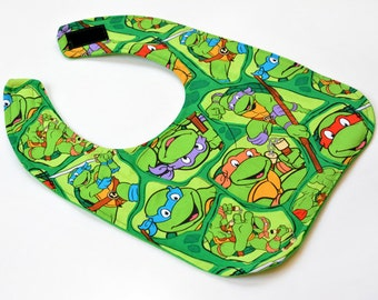 1st Birthday Bib, Toddler Bib Super Hero Turtle Fabric, Baby Bib Toddler Gift, Baby Items, Made From Spring Creative Fabric