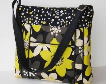 Black and Yellow Fabric Messenger Bag - Black Floral Cross Body Bag - Crossbody Purse - Black Messenger Purse - Outside Pocket - Hobo Bag