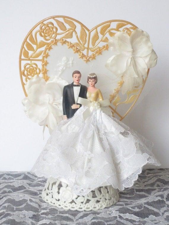 vintage 1950 39 s bride and groom wedding cake topper. Black Bedroom Furniture Sets. Home Design Ideas