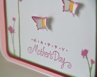 Mother's Day Card with Flowers and Butterflies in Lilac and Pink, Greeting Card for Mom, Stamped Mother's Day (MD1404)