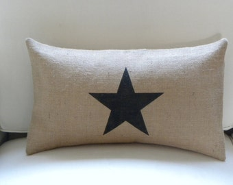 Burlap(hessian)  lone star lumbar pillow cushion cover