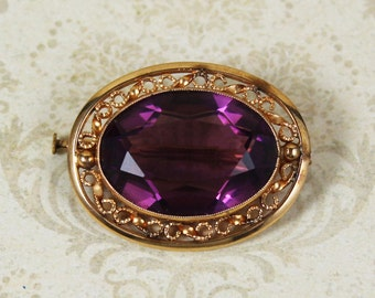 Vintage Amethyst Glass 10k Gold Filigree Oval Brooch