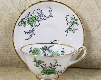 Vintage Royal Chelsea English Bone China Blue and Green Floral Butterfly Tea Cup and Saucer
