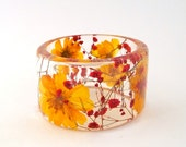 Size Large Cosmos and Baby's Breath Botanical Resin Bangle.  Yellow and Red Chunky Bangle with Pressed Flowers.  Resin Bracelet