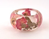 Pink and Yellow Roses in a Chunky Resin Bangle.  Pressed Roses Bangle Bracelet.  Real Flowers - Pressed Rosebuds.  Handmade Resin Jewelry