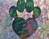 Iridescent Green  Stained Glass Dog Paw Print with Heart Sun Catcher Great Gift for Dog Lovers!