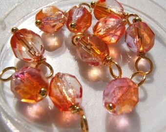 10 - Handmade 6mm Czech Bead Dangles-Charms Tequilla Sunrise w/Gold
