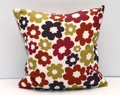 Floral beautiful pillow cover Decorator Pillow Cover, Housewares, Home Decor, Red, Golden, Indoor, Outdoor, Cushion