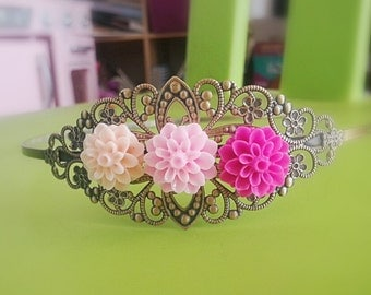 Blossom pink, hot pink and cream flowers mum  antique bronze head band