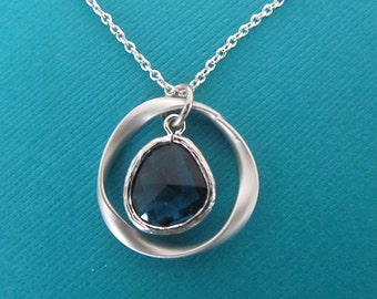Navy Blue  glass with Bezel setting silver twisted ring silver chain necklace