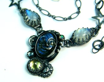 Unique Labradorite Necklace, Goth Style Jewelry, Hand Made Custom Moonstone Necklace, Sun and Moon