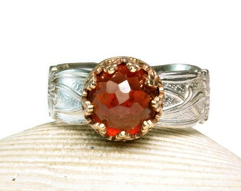 Gold Hessonite Garnet Ring, Sterling Floral Band, Statment Ring, Birthstone Ring, custom sized