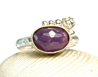 Purple Sapphire Ring, Sterling Silver Jewelry, Yellow Gold, Woodland Design, Floral Band, Hand made, custom sized