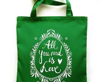 All you need is Love tote bag - srceenprint - green - white