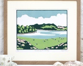 Hand Printed Grazing by the Estuary Linocut Print