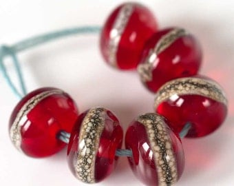 "Organic Red Accent Bead Set ""Luscious Berry""  ~ Set of 6 Lampwork Glass Spacer Beads ~ MTO"