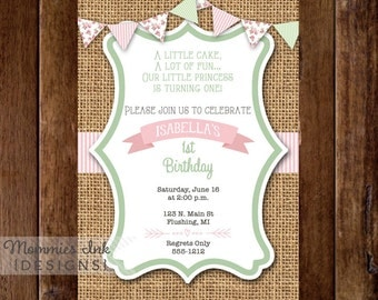 Shabby Style Seersucker and Cottage Roses Vertical Birthday Invitation- PRINTABLE INVITATION DESIGN