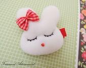 READY TO SHIP, Bunny Hair clips (L), Easter Bunny Rabbit Hair accessory, Children, Baby, Girl Hair pins, Bunny with Bow Hair clip, Kawaii