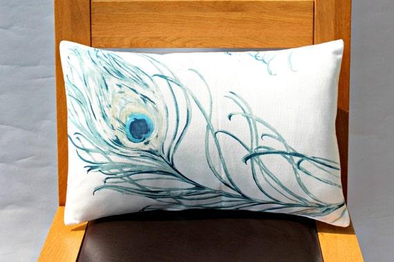 Lumbar pillow blue indigo peacock feather Throw cushion covers cases shams fabric covers UK designer fabric One 12 x 18 inch handmade