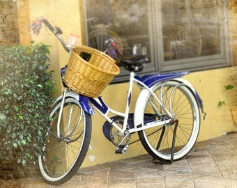 Bicycle, Two Wheels, Old Bike, Bicycle Love, Bike and Basket, Original Photograph, Cottage Chic