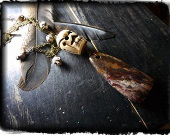 GRIS GRIS. Ritual Amulet Talisman monolith jasper stone, huge carved BONE skull. mini raku skulls necklace ooak unisex Boho Tribal Unique