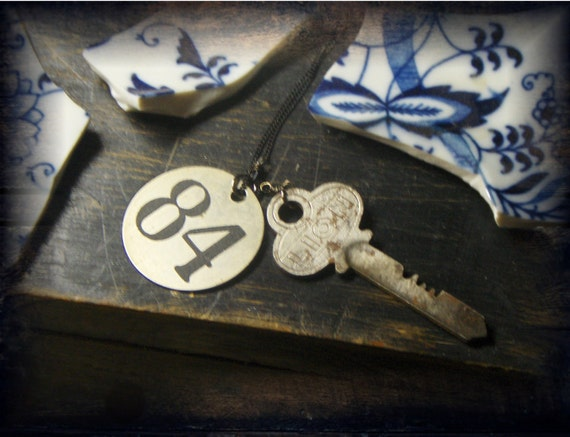 The Curse of Room 84 At The Lion Inn.  Vintage metal tag, and weird antique key lariat necklace.