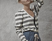 LAST SALE 50% off!!!! under 50, Stripes knitted jersey top, light sweater,  with hook closer and puffy sleeves