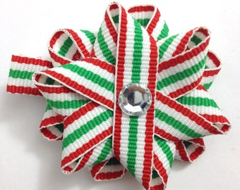Red, Green Stripe Christmas Hair Bows, Handmade Hair Bows, Loopy Hair Bows, Hair Bow Clips, Christmas Gifts, Gifts for Her, Hair Accessories