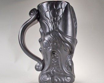 Firebreathing Dragon Beer Stein- Satin Black Glaze- Handcrafted Stoneware Goth Fantasy Art for Fans of Sci-Fi, Renaissance Festivals, Gamers