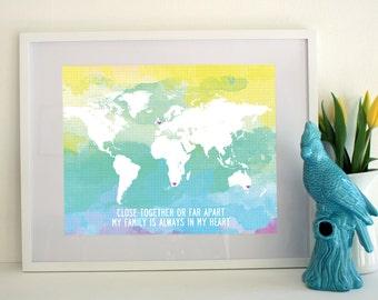 Family World Map Custom Poster