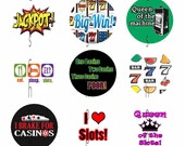 1 inch Circle Images for bottle cap, scrapbooking cupcake topper or other - Casino Slot Machine Lady Luck Lucky Automatic Digital Download